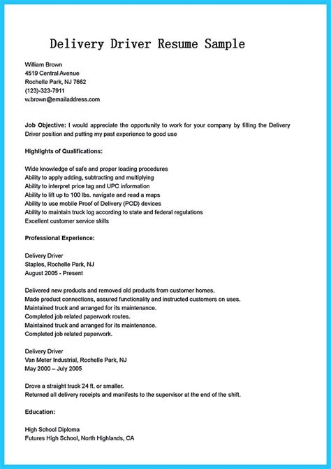School Driver Description For Resume by Stunning Driver Resume To Gain The Serious Driver
