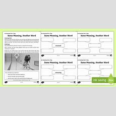 Same Meaning, Another Word Worksheet  Activity Sheet, Worksheet