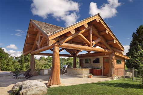 Small Outdoor Kitchen Design Ideas - modern day log cabin the bowling green residence outdoor living structure rustic patio