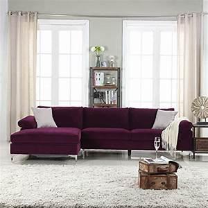 Product reviews buy modern large velvet fabric sectional for Contemporary velvet sectional sofa