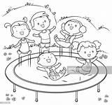 Coloring Trampoline Jumping Clipart Trampolin Jump Vector Grafiken Malbuch Equipment Ausmalen Kleurplaat Illustrations Stockillustraties Cartoons Springen Ilustracoes Iconen Met Kinder sketch template