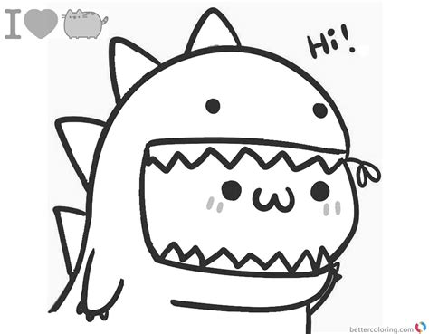 Pusheen Coloring Pages Lovely Dinosaur