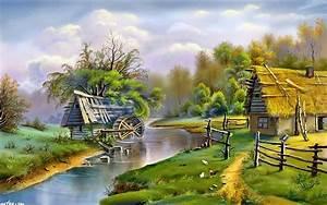 Beautiful, Landscape, River, Mill, 0853, Wallpapers13, Com