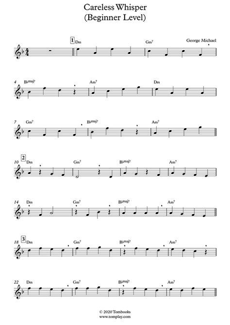 Related sheet music you may also like. Saxophone Sheet Music Careless Whisper (Beginner Level ...