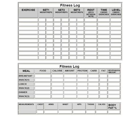 Free Printable Exercise Log Sheets