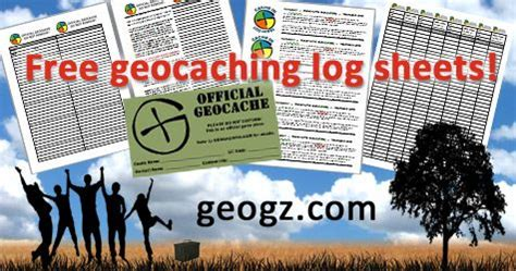 visit geogz and free printable professional looking geocaching log sheets stash