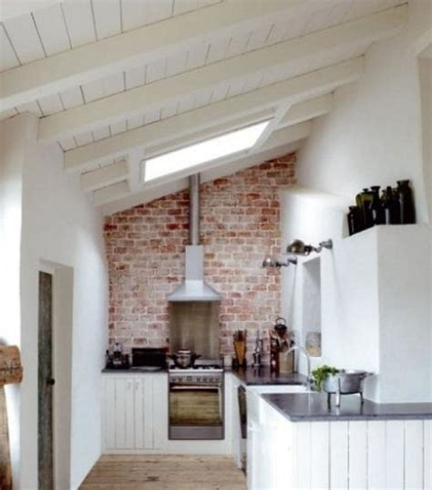 attic kitchen ideas rustic brick backsplash for attic kitchen ideas and ceiling skylight features and white board