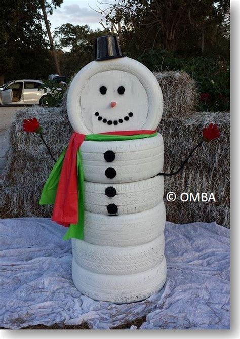 creative ideas diy adorable snowman decor   tires
