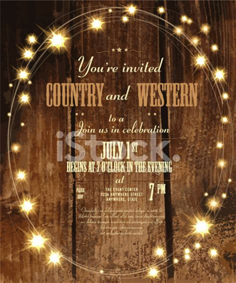country  western invitation design template  oval