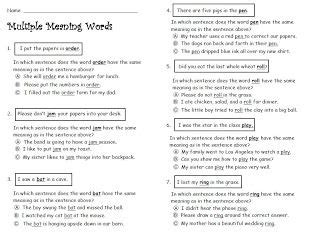 multiple meaning words free ela worksheet slp multiple