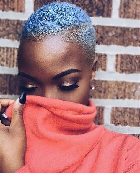 Blue Hair Dyed Short Hair Natural Hair Twa Melanin
