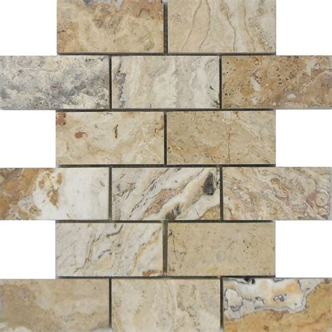 shop allen roth beige honed mosaic subway