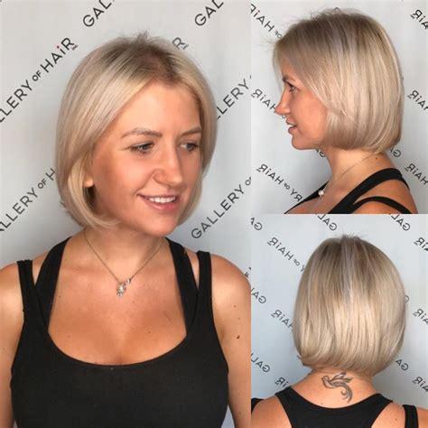 womens platinum classic bob  ash blonde lowlights