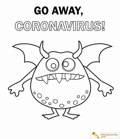 Coloring Coronavirus Away Covid Printable Worksheets Sheet