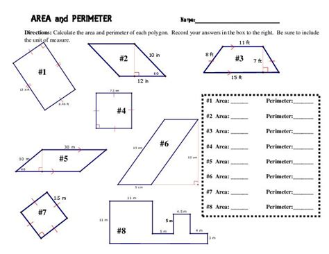 6th grade area and perimeter worksheets worksheets for all