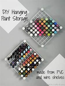 Craft Room Organization: PVC and Wire Shelf Paint Storage