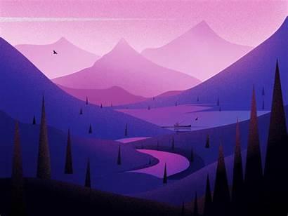 Minimal River Lake Digital Mountains Background Febin