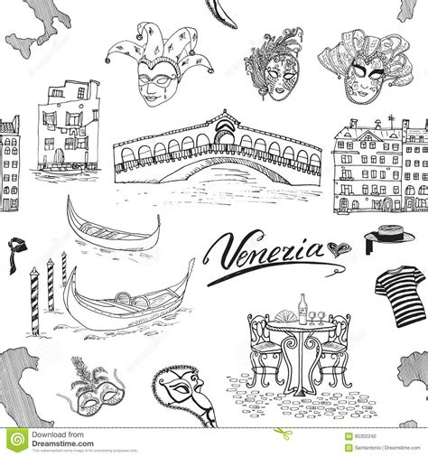 venice italy seamless pattern hand drawn sketch  map