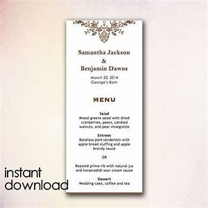 diy wedding menu template instant download by cheapobride With menu templates for weddings