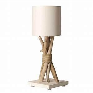 Lampe Chevet Bois Flotté : lampe de chevet bois flott abat jour blanc en vente sur lampe avenue ~ Teatrodelosmanantiales.com Idées de Décoration