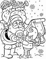 Coloring Santa Pages Mas Giving Gifts Colouring December Christmas Sheets Sheet Printable sketch template