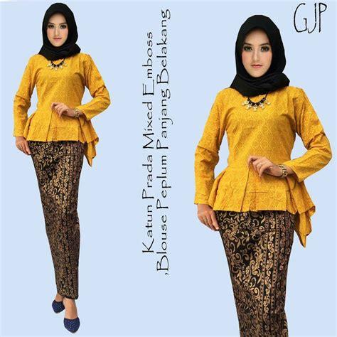 Embos Dress rok dan blouse batik gjp kuning batik prada kombinasi
