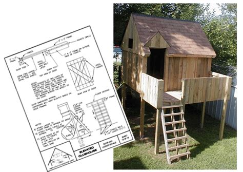 Backyard Clubhouse Plans by Elevated Playhouse Plans Backyard