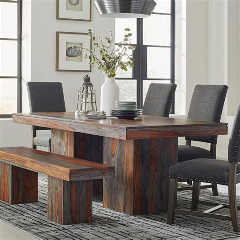 scott living binghamton grey sheesham wood dining table
