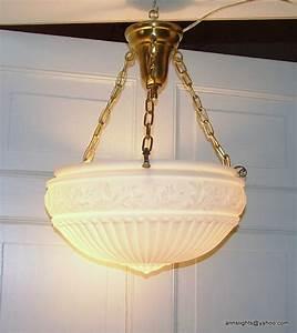 Antique ceiling light fixture vintage inverted dome suspension