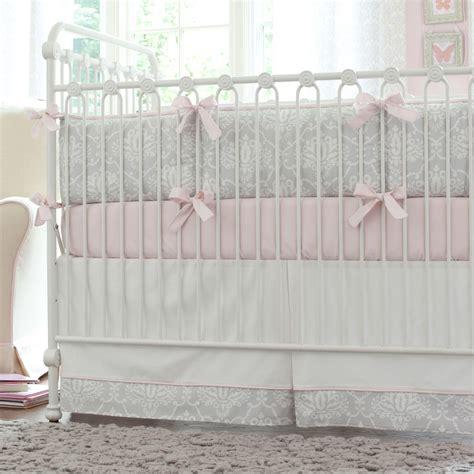 grey crib bedding pink and gray damask crib bedding baby bedding for