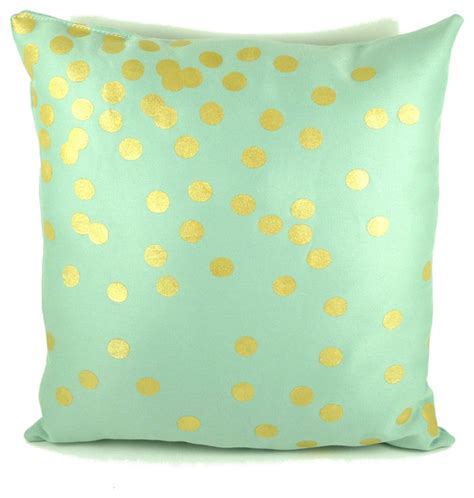 mint green throw pillows mint and gold scattered circles pillow by