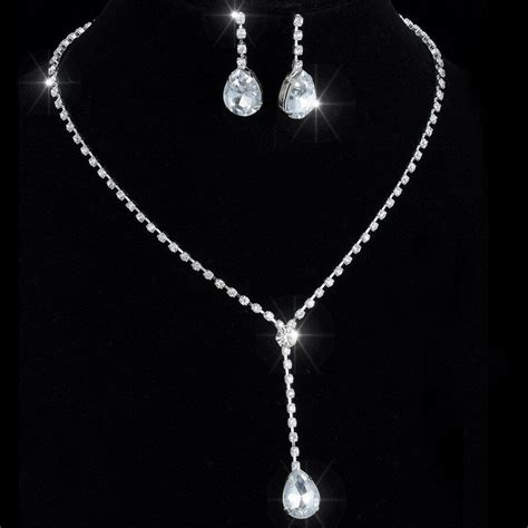 drop silver crystal wedding necklace earrings jewelry set