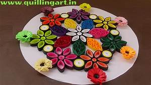 Paper Quilling : Rangoli Designs by using quilled flowers