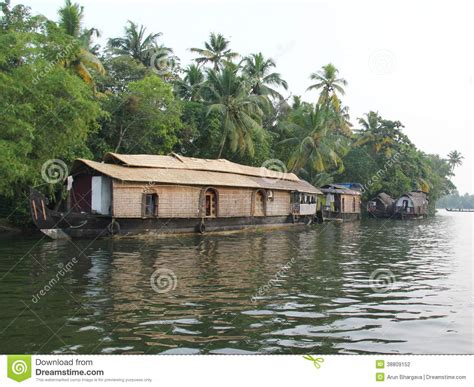 Floating Boat House In Kerala by Wooden House Boats In Kerala Back Waters Stock Photo
