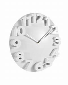 Horloge Murale Blanche : achat vente horloge murale chiffres en relief blanc ~ Teatrodelosmanantiales.com Idées de Décoration
