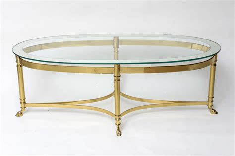 oval glass coffee table oval brass coffee table with mirrored rim glass top at 1stdibs