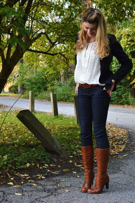 Very cute fall outfit (jeans high heel boots lacy to and vest/ sweater) | Art teacheru0026#39;s ...