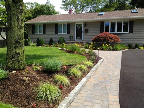 ranch home landscaping pictures ranch house driveway and front entry paving installation contemporary landscape new york