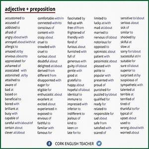 adjective + preposition Finally, a list of the pesky words ...