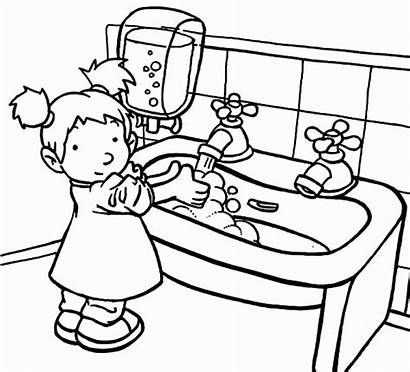 Washing Coloring Hand Drawing Sink Pages Hygiene