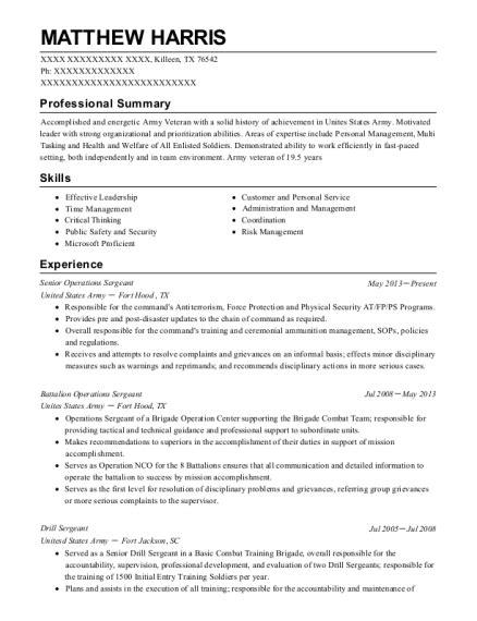 Army Sergeant Resume by Best Drill Sergeant Resumes Resumehelp