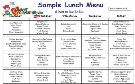 childcare lunch menu google search meals   day