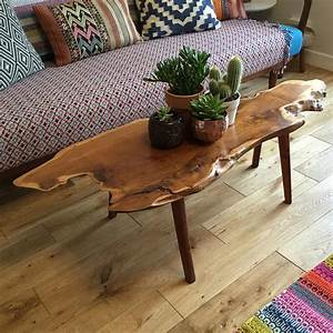 mid century walnut live edge coffee table mustard vintage With small live edge coffee table