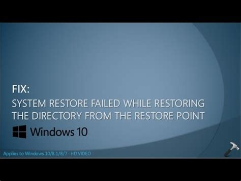 fix system restore failed while restoring the directory from the restore point
