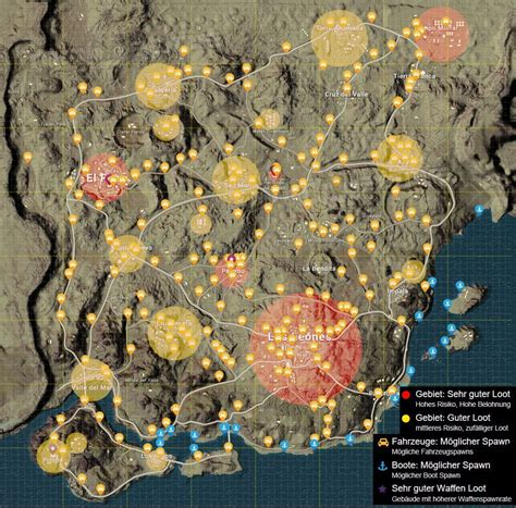 pubg loot map pubg all high medium loot and car spots in the desert