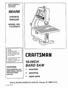 Craftsman 113244513 User Manual 10 Inch Band Saw Manuals