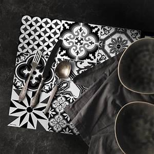 Set De Table Carreaux Ciment : set de table carreaux de ciment ginette noir 35x50cm ~ Melissatoandfro.com Idées de Décoration