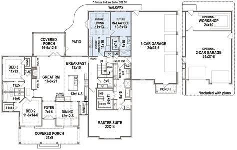 updated farmhouse style house plan  pinecone trail