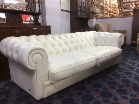 white chesterfield sofa white leather low back chesterfield lounge simply secondhand