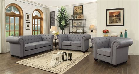 Grey Living Room Sets by G491 Tufted Living Room Set Gray By Furniture